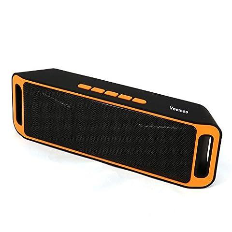 Veemoo Enceintes Stéréo Portable Bluetooth Haut-parleur Avec Radio FM Microphone Port USB AUX Pour iPhone Android Smartphone Tablet PC Ordinateur MicroSD U Disque et Appareils Audio Bluetooth