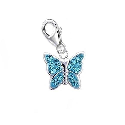 GH* KIDS Kleine Blau Kristall Schmetterling Charm Anhänger 925 Echt Silber Mädchen Kinder Damen Baby Geschenkidee
