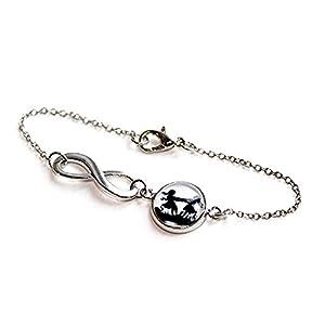 Große und kleine Schwester – Freundschafts Scherenschnitt Infinity Armband silber,16-17cm, handmade, ein süßes Geschenk für die liebste Schwester oder beste Freundin