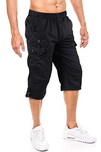 TACVASEN Herren 100% Baumwolle Casual Military Elastische Capri Cargo Kurze Hosen mit Multi Taschen, 36, Schwarz -