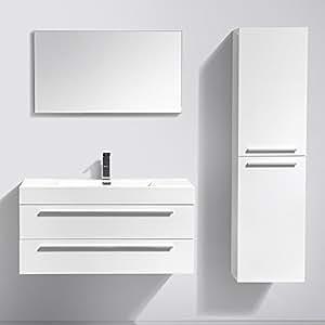 InterougeHome - Ensemble de Meuble de salle de bain en bois avec simple vasque coloris Blanc Brillant - Miroir Mural avec Ses Etagères Latérales - Vasque - Meuble de Rangement Sous Vasque - Meuble de Rangement - 1 Mitigeurs 1 Bondes et 2 Flexibles Offerts