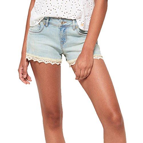 Superdry Shorts Damen LACE TRIM HOT SHORT Canyon Tint, Hosengröße:25 (Lace Trim Jean)