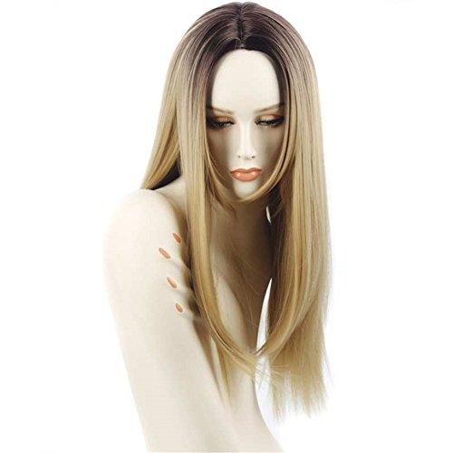 Lange Gerade Haar Zwei Ton Schwarz und Blonde Ombre Perücke Hitzebeständige Kunstfaser Dark Roots Blonde Perücke Perücken Kunsthaar 66cm (2-ton-blonde Perücke)