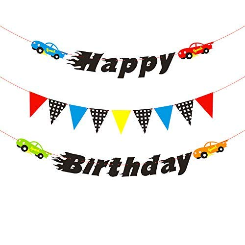 BEYUMI Race Cars Birthday Banner for Boys, Colorful Pennants and Checked Flags for Party Decoration, Let's Go Racing Birthday Backdrop for Kids Birthday (Cars Für Kids)