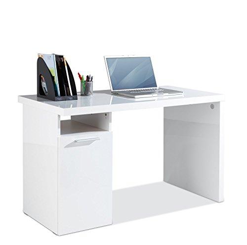 Fügt Hochglanz (Schreibtisch Computertisch Arbeitstisch SERVO | Weiß Hochglanz)