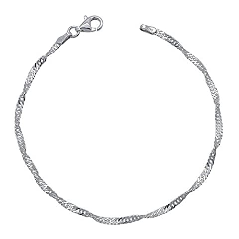 """Solid 925 Sterling Silver SINGAPORE / TWISTED CURB Link Chain BRACELET 6.5"""" 7"""" 7.5"""" INCH Length 2mm Width High Quality with GIFT BOX"""