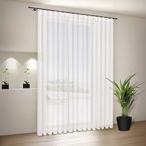 Mein-gardinenshop Finja Rideau semi-transparent avec galon fronceur Blanc 200 x 245cm