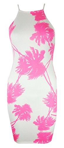 Generic Damen Kleid mehrfarbig multi Neon Pink Palm Tree