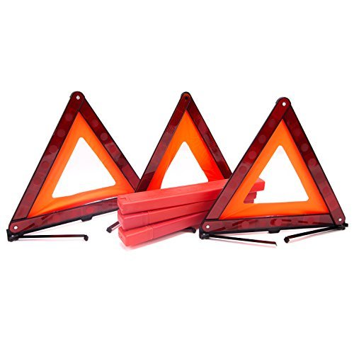 Fasmov Triple Triangle de signalisation d'urgence Triangle de signalisation Réflecteur de sécurité Triangle kit, 3-pack