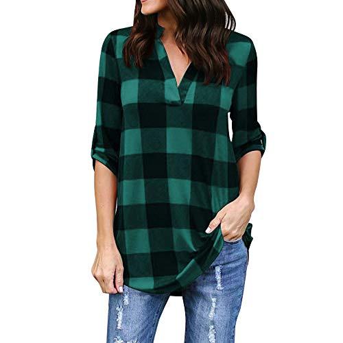 KUDICO Damen Oberteile T-Shirt Kurzarm Bluse mit V-Ausschnitt Kariertes Hemd mit unregelmäßigem Saum Tunika Top(Grün 2, 5XL)