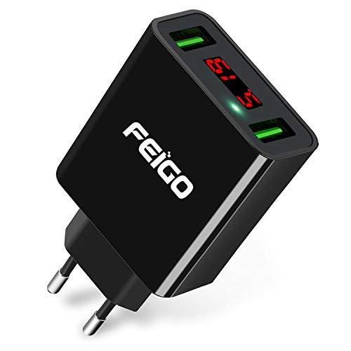 2 Port Wall (FEIGO USB Ladegerät 2-Port 5V/2.2A Wall Charger Netzteil mit LED Digitaler Anzeige Reise Stecker für Galaxy S7/Edge/S8/S9/Plus Phone 6/7/8/Plus/X Bluetooth/Tragbar Geräte Schwarz)