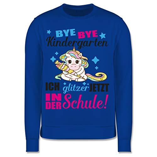 Shirtracer Einschulung und Schulanfang - Ich Glitzer jetzt in der Schule Einhorn mit Schultüte - Fuchsia - 9-11 Jahre (140) - Royalblau - JH030K - Kinder Pullover - Wrap-kinder Pullover