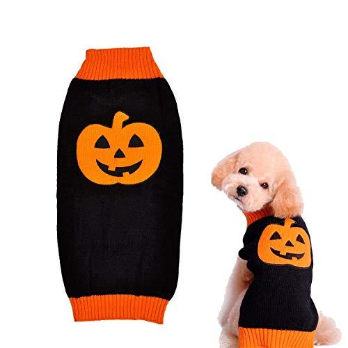 Raking Hallowmas Kürbis Knitted Baumwolle Hunde Hoody Rollkragenpullover Pullover Kostüm Kleidung Bekleidung Outfit, Medium