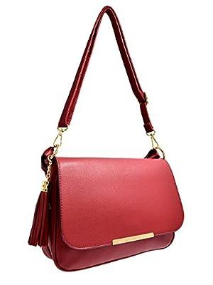 CRAZYCHIC - Grand sac bandoulière femme à rabat muni d'une grande anse à tresses et pompon - Fond à soufflet zip pour agrandir le sac à main - Imitation cuir - Porté épaule ou main
