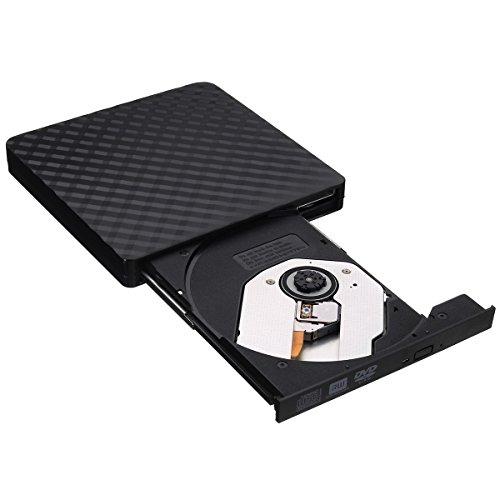 DyNamic Ultra-Thin Externe USB 3.0 8X CD DVD Player Recorder Writer Optical Drive - Schwarz