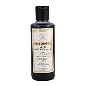 Khadi Natural Ayurvedic Amla and Bhringraj Hair Cleanser(Shampoo), SLS and Paraben Free, 210ml