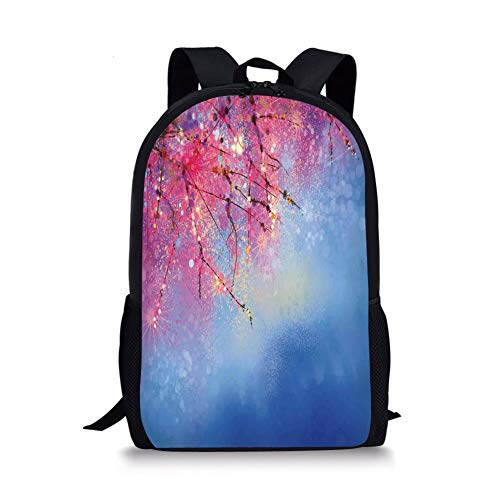 School Bags Watercolor Flower Home Decor,Sakura Branches Hangs down Dramatic Night Oriental Plant Image,Pink Blue for Boys&Girls Mens Sport Daypack -