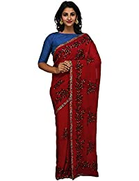 Unnati Silks Women Maroon Embroidered Pure Georgette Saree With Blouse from the Weavers of Punjab(UNM26166)