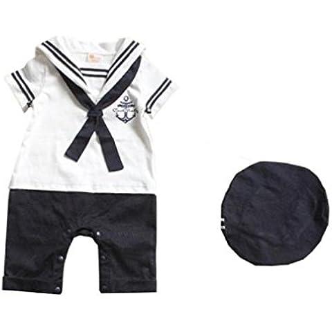 Koly mameluco del bebé Sombrero Algodón Armada unidos bebé traje de marinero