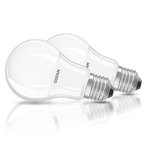 OSRAM LED-Lampe E27 Classic A / 8,5W - 60 Watt-Ersatz, LED Birne als Kolbenlampe / matt, warmweiß - 2700K, Pappbox 2er Promo-Pack (Nicht Teuer, Zeitschriften)