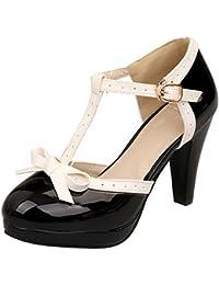 COOLCEPT Mujer Moda Tacon Ancho alto zapato D orsay Bombas Zapatos Correa En T Sandalias Zapatos (37 EU, Pink)
