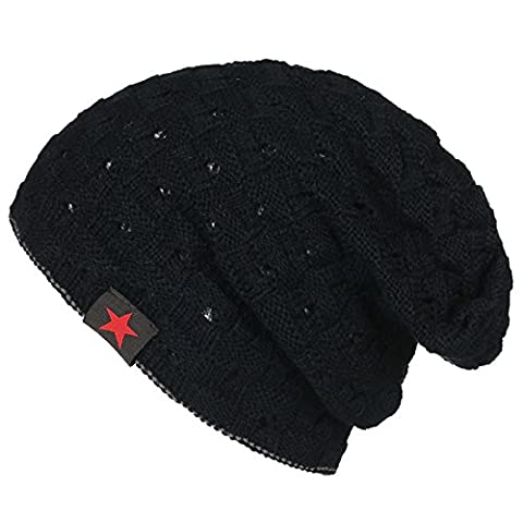 Knitting Striped Warm Hat - iParaAiluRy Unisex Luxurious Fashionable Soft Hollow Double-sided Wear Cap Beanie Hat Plus Five-pointed star in Winter and Spring