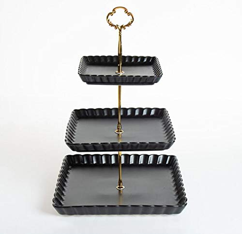 CHENGXINGF Tortenständer Quadratische Keramik-Mehrschicht-Tortenschale Cocktail-Dessert Gemüse Obst Tortenständer Für Hochzeit Buffet Höhe 37 cm (Color : Black)