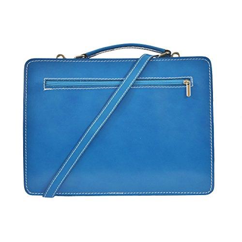 CTM Unisex Business Tasche, Aktentasche, Organizer in italienischem Leder Made in Italy D7006 - 35x25x12 Cm Himmlisch