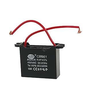 Amico 4uF 450V démarrage du moteur AC Fan condensateur CBB61 Noir