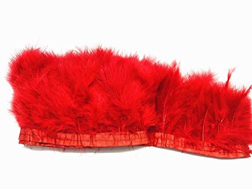 Rote Feder Kostüm - ERGEOB Voll Samt Huhn Federn Stoffstreifen