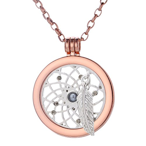 Morella mujeres collar 70 cm acero inoxidable de oro rosa y colgante amuleto Coin 33 mm átrapasueño de color plata 33 mm para damas en bolsa para joyas
