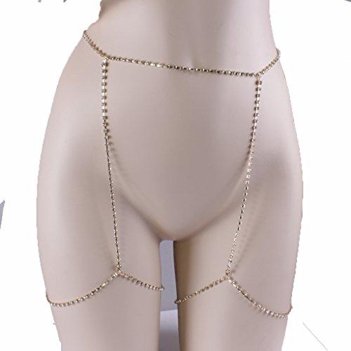 Körperkette, Beste Frau Stretchy 2 Tier Bein Oberschenkel Körper Alloy Chain Beach Harness