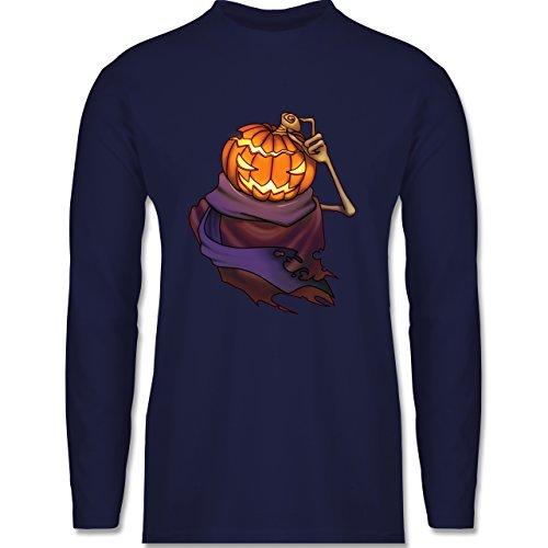 Shirtracer Halloween - Kürbiskopf - Herren Langarmshirt Navy Blau