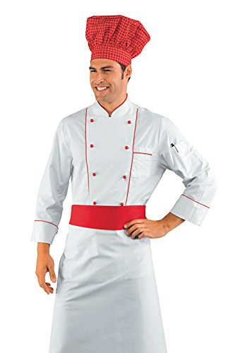 Isacco - Veste Chef Cuisinier Blanc et Rouge Blanc Ray Noir