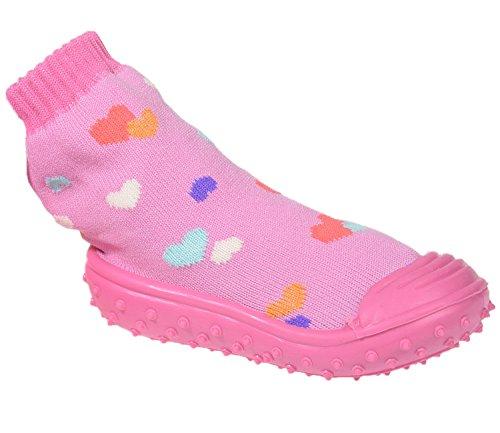 Miobo Baby Hausschuhe Babysocken ABS Gummisohle Babyschuhe Antirutsch Herz Rosa 23 -