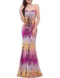 Emmani Fashion Larga de Sirena de Encaje de Novia sin Mangas Lentejuelas  Encaje de la Mujer c13c51f39197