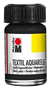 Marabu 17090039073 - Pintura para Acuarelas (Base de Agua, para Tejidos claros, Olor Neutro, Resistente a la luz, Resistente a la Saliva, Tacto Suave, 15 ml), Color Negro