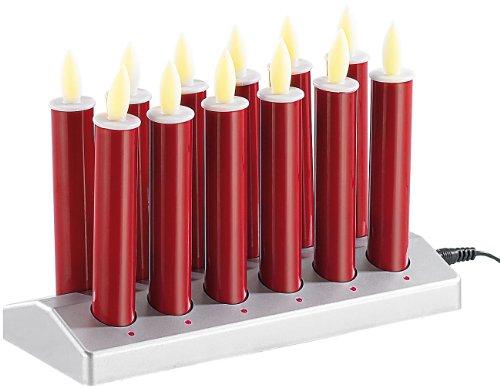 Lunartec Weihnachten: 12 stimmungsvolle LED-Akku-Kerzen mit Edelstahl-Haltern, rot (Stabkerzen)
