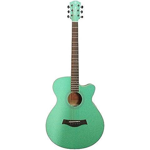 HONSING® 40 pulgadas recortada gente guitarra de tono suave punteado incrustaciones abrazadera de corea importó cadenas de cobre HS-4004C-SGR (Verde claro)
