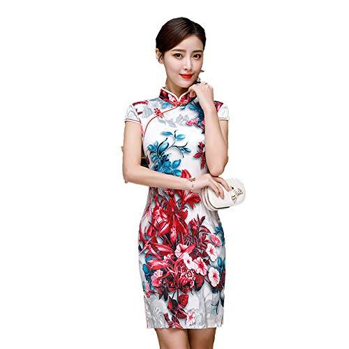 YDJGY Neue Moderne Qipao Traditionelle Chinesische Kleid Mode Cheongsam Bankett KostüM Kurze Qipao Frau Orientalischen Abend - Neue Traditionellen Chinesischen Kleid