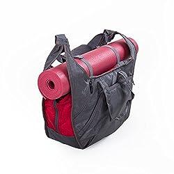 Yogatasche BOHDI Tote Bag NATARAJ (grau/rot), Yogamattentasche, viele praktische Fächer, leichtes & robustes Material, viel Platz für Handtuch, Wechselkleidung