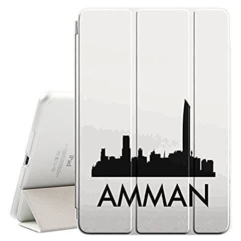 STPlus Amman, Jordan City Skyline Silhouette Postcard Smart Cover With Back Case + Auto Sleep/Wake Funtion + Stand for Apple iPad Pro