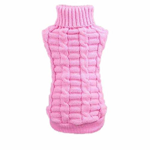 Hunpta Hundebekleidung streicheln Winter wollene Pullover Strickwaren Welpen Kleidung Warm Hanf Blumen hoher Kragen Fell (M, Rosa) -