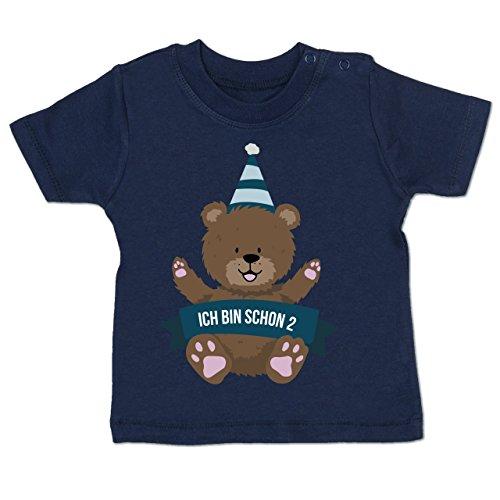 Geburtstag Baby - Ich Bin Schon 2 Bär - 18-24 Monate - Navy Blau - BZ02 - Baby T-Shirt Kurzarm
