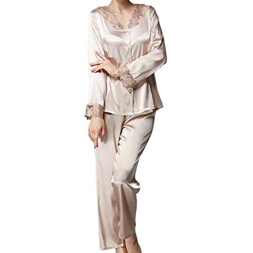 Zhuhaixmy Frauen 2 Stück Satin Seide Schlafanzüge Komfortabel Lange Ärmel Mädchen Taste Pyjama-Set Nacht Kleidung Lose Loungewear Spitzenkante Nachtwäsche (2 Stück Seide Anzug)