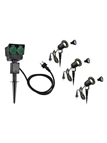 SLV LED Strahler NAUTILUS XL 3er Set mit Erdspieß, 4-fach IP44 Gartensteckdose 1,5m, 3x GU10 Leuchtmittel, Aussen-Leuchte, Außen-Strahler - Slv Led