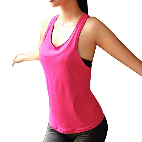 NEEKY Damen Yoga Fitness Tank Damen Splice ärmellose Yoga BHS Weste Sport Solid Tops Sexy Sportswear WesteDamen BH Push Up RüCkenfrei(S,Pink)