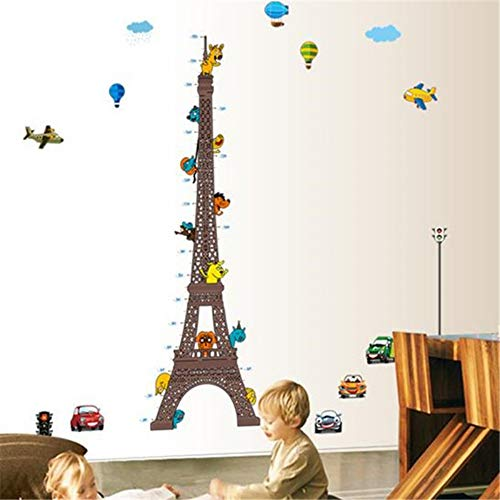 enmessung Wandaufkleber Cartoon Tiere Auto Ballon Kinder Schlafzimmer Wachstum Chart Removable Decor ()