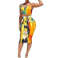 GAGA Women 2 Piece Dress Outfits Tie Dye Print Tank Crop Top and Midi Bodycon Skirt Clubwear Sets Yellow L