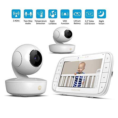 BABY MONITOR ZLMI Moniteur pour bébé Interphone Vocal sans Fil Double caméra Dispositif de Soin pour bébé Rechargeable Surveillance Intelligente de la température ambiante